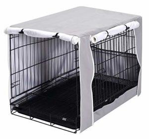 Geyecete Housse de cage pour chien – Housse universelle pour cage en fil de 63-124 cm – Tissu léger 100 % polyester respirant double porte – Gris clair
