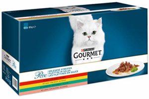 Gourmet Purina Filet au Poulet, bœuf, Saumon et Lapin, Nourriture pour Chats de Haute qualité (sachets Portion 60x 85g)