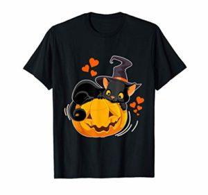Halloween Chat Noir Citrouille Chapeau de sorcière Costume T-Shirt