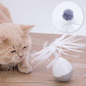 HAPPY HACHI Jouet pour chat interactif, jouet électronique chat intelligent Jouet Culbuto auto-rotative à 360 degrés jouet balle avec 2 têtes de remplacement Drôle Chaser pour chatons (Piles Incluses)