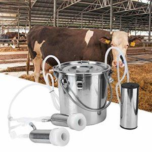 HEEPDD Kit de Machine à traire électrique 5L, Machine a traire Vache minitype Portable Machine à traire pour Vaches à Double tête Machine à traire Domestique à Vache électrique(pour Vache EU Plug)