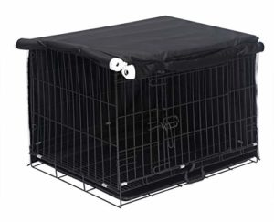 Housse de cage en polyester pour chien – Housse de protection résistante au vent pour cage de transport en fil de fer – Housse uniquement – XXL-Full Noir