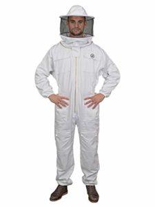 Humble Bee 410 Combinaison d'apiculture en polycoton avec voile arrondi, Linen White