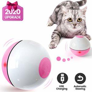 Iokheira Jouet pour Chat, Boule Auto-Rotative à 360 Degrés avec LED Lumières Rechargeable USB Jouet Interactif Électrique Balle Chat pour Animaux Chien Chatons
