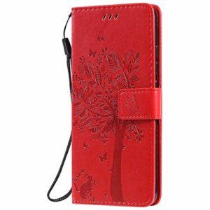 Jeewi Coque pour Xiaomi Mi Note 10/Note10 Pro/Lite Protection Housse en Cuir PU Pochette,[Emplacements Cartes][Fonction Support][Fermeture magnétique] pour Xiaomi Note 10 Lite/Pro – JEKT022013 Rouge
