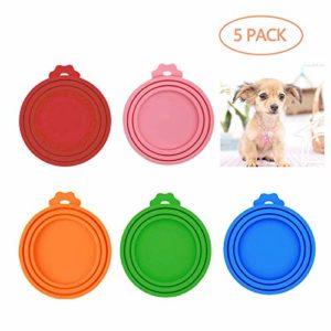 LABOTA 5 PCS Couvercles Silicone de Conserve Pour Chien Chat Couvercles Alimentaire Universels pour Nourriture en boîte de Animal Chien Chat – Sans BPA pour des Tailles Multiples