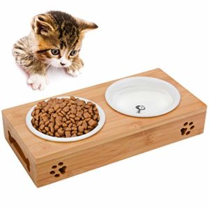 Legendog Gamelle Ceramique Chat, Gamelle Chat Bambou | Gamelle Anti Glouton Chats | Gamelle Chat Double | Gamelle pour Chat