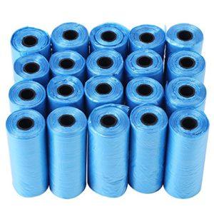 Longzhuo 20 Sacs à ordures Rolls Dog Poo Bag Trash Cat Pets Waste Collection Bag(Bleu)