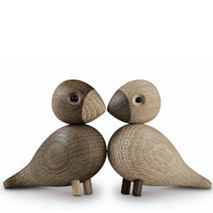 Lovebirds/oiseaux – Figurines en bois marron/2 figurines/H. 8,8cm