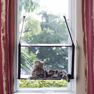 L.S Chat Lit Fenêtre Hamac Jusqu'à 25kg Cadre Métallique Dtable Tapis Doux Minou Ensoleillé Perch Chat Visage (Double Couches, Gris)