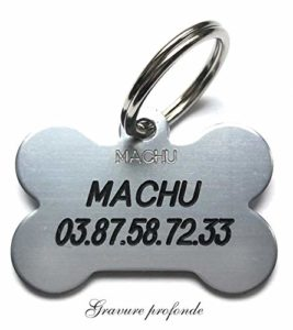 MACHU – Medaille Chien os pour Grand/Moyen Chien – Couleur Argent – 3,8 cm X 2,5 cm – Gravure Offerte.