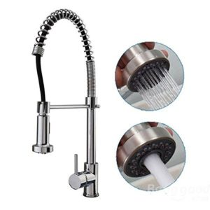 mark8shop Luxe Finition Chrome robinet mitigeur printemps robinet de bain à levier unique extractible cuisine