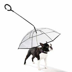 MLQ Parapluie pliable transparent pour animal de compagnie – Garde au sec – Parapluie pour chien – Avec laisse pour chien – Protection contre la pluie, la neige et les intempéries