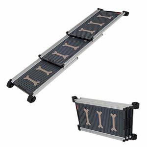 MZTYH Rampe pour Chien X1, Rampes TéLescopique Pliable en Aluminium, Ramps RéGlable – AntidéRapante – LéGèRe (165cm * 40cm)