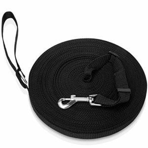 NEEGO Laisse de Dressage pour Chien 15M Noir Longue Sangle en Nylon Mains 15M Noir Libre pour Chiens Chats Animal Promenade ou Arrimage