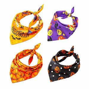 Nice Dream Bandanas pour Chien, Bandana Collier Réglable Chien en Coton Motif Halloween Foulard Triangle Accessoire pour Chien et Chat, Lot de 4