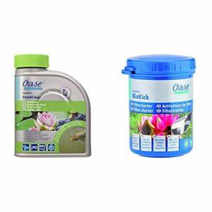 Oase 50552 AquaActiv PondClear pour Bassin 500 ML & 51277 AquaActiv BioKick Activateur de Filtre 100 ML