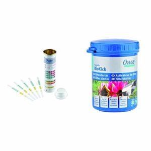 Oase 50570 AquaActiv QuickSticks Test Bandelette de Bassin 6 en 1 & 51277 AquaActiv BioKick Activateur de Filtre 100 ML