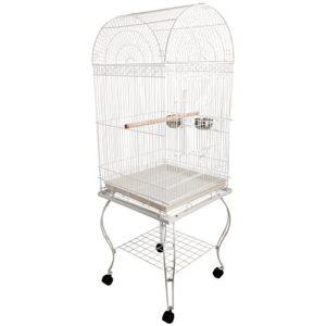 Pawhut Grande volière Cage à Oiseaux Design avec mangeoire perchoir Suspendu Plateau Amovible étagère et roulettes 54L x 54l x 153H cm Blanc