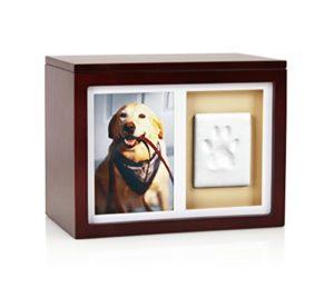 Pearhead pattes de chien ou chat Boîte de mémoire pour animal avec argile Imprint kit, idéale pour animal domestique Memorial Espresso