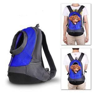 Pet porte-sac à dos Chien Sac de transport de Voyage Sac à dos de Ventral Poitrine Transporteur Sacs pour Petit Animaux (Bleu)