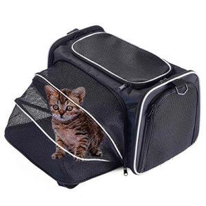 Petcomer Sac Extensible de Transport pour Chiens Chats Animal de Compagnie Transporteur Pliable Confortable Solide pour Voyage (L, Noir)
