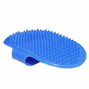 POPETPOP 2pcs Chien Chat Peigne en Caoutchouc Bain Paume Brosse réglable Cheveux toilettage Brosse Peigne Massage récureur (Bleu)
