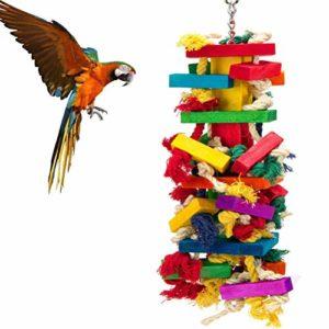 POPETPOP Jouets à Mâcher pour Oiseaux, Jouets en Bois pour Perroquet, Corde de Morsure en Bois Flexible pour Oiseaux Perruches Cockatiels et Oiseaux d'amour – Taille L