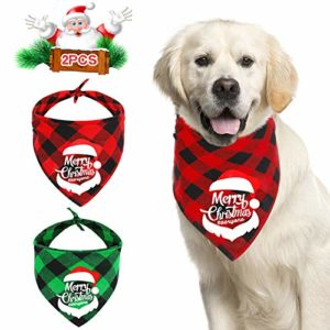 QKURT Lot de 2 Bandanas pour Chien de Noël, Joyeux Noël à Tous, Motif écharpe pour Chien, Ensemble de Foulard pour Costume de Noël pour Animal de Compagnie pour Chien de Taille Moyenne