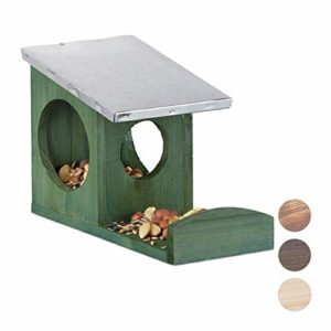 Relaxdays Mangeoire pour écureuils, Hotte en Bois, Toit métallique étanche, à accrocher, pour Le Jardin, Vert foncé