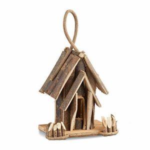 Relaxdays Nichoir à oiseaux décoration maison à oiseaux en bois à suspendre villa fait main balcon, nature