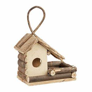 Relaxdays Nichoir à oiseaux décoration maison à oiseaux en bois à suspendre villa fait main, nature