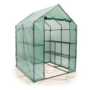 Relaxdays Serre de Jardin Tente pour Plantes fleurs Bâche avec étagères potager intempéries Housse de Protection Grande Taille 140 x 190 x 140 cm vert