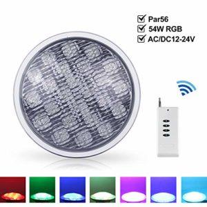 Roleadro 54W PAR 56 LED Piscine Lampe de Piscine Decoration IP68 Led Imperméable RGB Multicolore Projecteur Piscine LED Submersibles avec Télécommande [AC/DC12-24V]