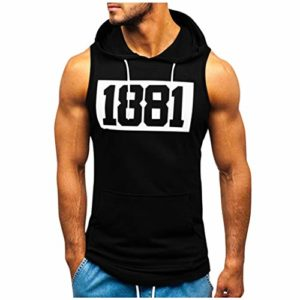 Romantic Rayures Débardeur à Capuche de Running Maillot sans Manches Gym T-Shirt sous-vêtements Fitness Singlet Rouge, Blanc, Noir, Vert armée