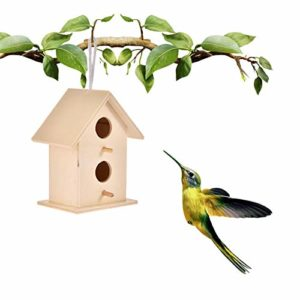 Sanmubo DIY Bird House Outdoor Hanging Bird Nest Home Decoration Gardening Decoration Nature's Bird House Bird House for Outside/Indoors/Hanging