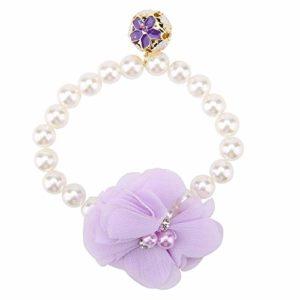 Semme Collier de Collier de Perle de Chien de Compagnie, Collier de Fleur de Perle de Compagnie, Ornement de Collier de Chat de Chiot de Fleur de Dentelle de Perle élégante à la Mode(Purple)