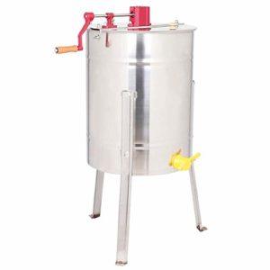 Séparateur extracteur à cadre en acier inoxydable, centrifugeuse au miel manuelle en acier inoxydable avec pieds de support et couvercle transparent, équipement de fabrication du miel pour ferme