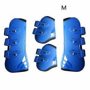 Sweet48 Lot de 2 Bottes Avant et 2 Bottes arrières, tendons de Saut Avant et arrière pour Chevaux, Protection sécurisée des Jambes, équipement d'équitation, Bleu, Taille L