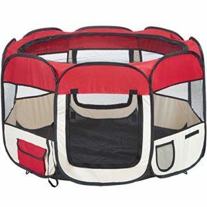 TecTake Parc à Chiots chien grand pliable – diverses couleurs au choix (Rouge)