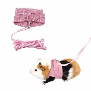 TOSSPER 1 Le Rose Hamster Lapin Harnais et Laisse Ferret Guinée Cochon Petit Animal de Compagnie Marcher Fournitures pour Animaux de Plomb Corde