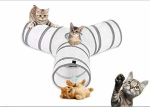 Tunnel de Jeu de Chat, Jouet pour Chat, Kitten Indoor Outdoor Toys-Chat Tunnel Pliable 3 Canaux- Tunnel for Cat, Puppy, Kitty, Kitten, Rabbit