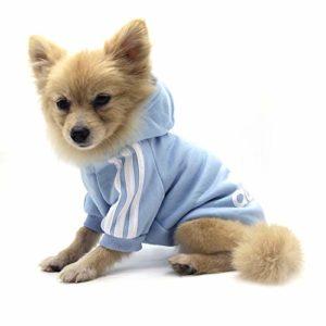 Vêtements pour Animaux, Adidog Chien Chat à Capuche vêtements Chiot Pull Chaud à Capuche Chaud QiCheng & LYS (Bleu, XS)