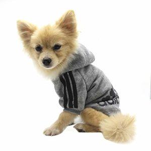 Vêtements pour Animaux, Adidog Chien Chat à Capuche vêtements Chiot Pull Chaud à Capuche Chaud QiCheng & LYS (Gris, S)