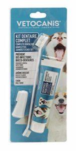Vetocanis Kit hygiène Dentaire PLAK Fighter pour Chien, Triple Actions, avec Brosse à dent, Dentifrice, et Brosse de Massage, Goût Biscuit