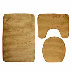 VNEIRW Set de 3 Tapis de Bain en Microfibre rétro pour WC et Salle de Bain – Tapis de Bain + pédales + Housse de siège de Toilettes – Coloris intégral – Imprimé Vertical