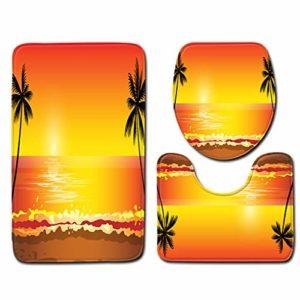 VNEIRW Set de 3 Tapis de Bain rétro pour WC et Salle de Bain avec Tapis de Bain + pédales + Housse de siège de Toilettes, Arbre de Noix de Coco Sunset Beach Print