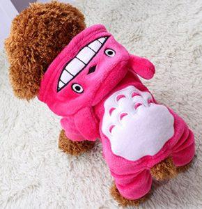 Xiaoyu chiot chien vetements de compagnie sweat chemise chaude manteau d'automne manteau d'automne chien habillement de mode jumpsuit, rose, XXL