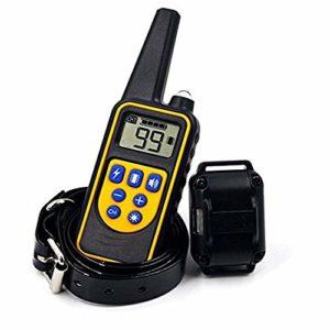 YSY SDPPY Dog Training Collier Sangle de télécommande étanche Rechargeable Collier de Chien électrique avec Buzzer Lampe de Vibration pour Tous Les Types de Chiens 1000 Pieds,Black