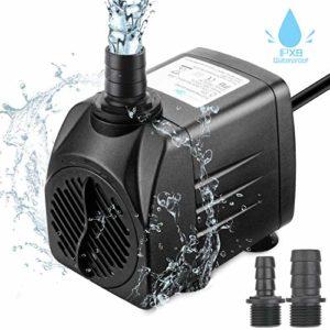 Zaeel mini pompe à eau, Submersible pompe à eau 25w 1800L/H 220V 1.5m Submersible 3 Buses Brushless Moteur Pompe Ajustable pour les Fontaines de Table Aquarium Pond Water Gardens et Hydroponic Systems